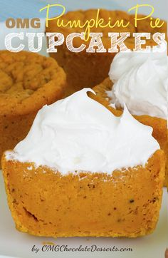 These Pumpkin Pie Cupcakes were very easy and are super yummy. Topped with a dollop of cool whip and a sprinkle of pumpkin pie spice, the cupcakes were less like traditional cakey cupcakes and more like pumpkin pie with no crust. Brownie Desserts, Köstliche Desserts, Chocolate Desserts, Delicious Desserts, Chocolate Lasagna, Chocolate Tarts, Homemade Desserts, Plated Desserts, Chocolate Chips