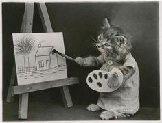 L'atelier de peinture : chaton en blouse de peintre, tenant palette et pinceau Frees Harry Whittier (1879-1953), photographer