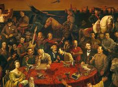 Famous People Painting - Discussing the Divine Comedy with Dante - 103 famous faces - oil on canvas, 2006 - Chinese artists Dai Dudu, Li Tiezi, & Zhang An {click on pic for entire painting and also for names when you mouse over}