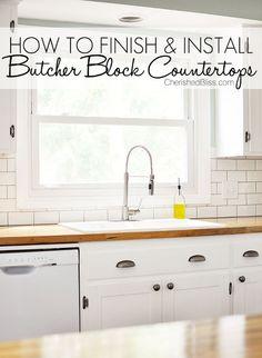 kitchen countertops butcher block install, countertops, kitchen design