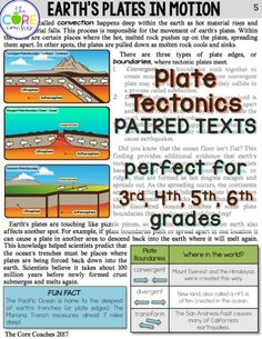 Plate Tectonics differentiated paired texts for 3rd, 4th, 5th, and 6th grades that are perfect for integrating ELA and science.