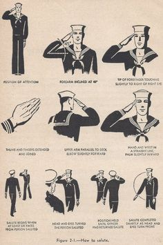 Vintage Navy Ephemera, How and When to Salute, 5 black and white illustrations via Etsy