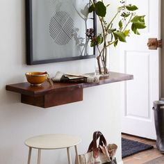 Art/wall Decor - Made of mango wood in a rich bourbon finish, this wall-mounted Live Edge Entry Shelf is an earthy spot to display books and photographs. Entryway Storage, Storage Shelves, Wall Shelves, Entryway Decor, Storage Ideas, Mounted Shelves, Wood Shelf, Narrow Entryway, Wall Decor