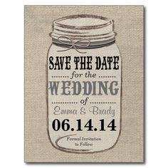 Perfect for a rustic, vintage, or country themed wedding. Features a burlap background with rustic mason jar and ribbon to coordinate with your wedding colors. I would be happy to customize the colors to match your wedding theme, so just send me an email!
