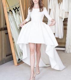 Robe de mariée courte épurée avec jupe ballon - Delphine Manivet