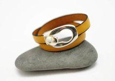 Yellow leather bracelet double wrap bracelet by UneDemiLune