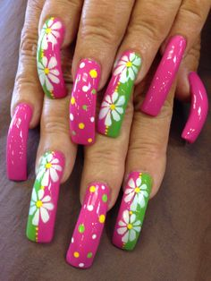 Airbrush summer nails - All For Hair Color Trending Funky Nail Art, Funky Nails, Cool Nail Art, Crazy Nails, Long Acrylic Nails, Long Nails, Long Nail Designs, Nail Art Designs, Spring Nails