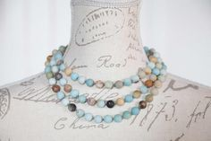 Very long Amazonite necklace / Long earth necklace / Hand