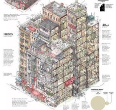 Kowloon Walled City, Planer Layout, Plakat Design, Information Design, Architecture Drawings, Architecture Plan, Urban Planning, Urban Design, Illustrators