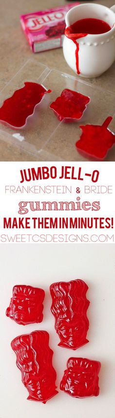 awesome last minute halloween snack- jumbo jello gummies! Jello Recipes, Fun Easy Recipes, Candy Recipes, Snack Recipes, Yummy Treats, Sweet Treats, Yummy Food, Frankenstein, Yogurt