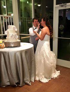 Bride And Groom And Wedding Cake