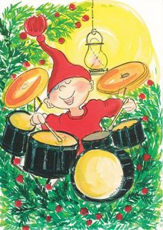 Postcrossing postcard from Finland Art Lesson Plans, Whimsical Art, Cute Illustration, Illustrations, Elves, Art Lessons, Finland, Tweety, Christmas Cards
