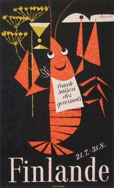 A travel poster for Finland. Love the playful 'vintageness' of this illustration. Old Poster, Poster Ads, Travel Illustration, Graphic Illustration, Vintage Advertisements, Vintage Ads, Retro Art, Vintage Travel Posters, Grafik Design