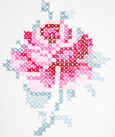 Cross-stitching cross stitch pattern water color type rose