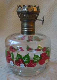 Vintage Lamplight Farms Strawberry Oil Lantern Lamp Base Glass Cute
