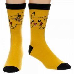 Pokemon PIKACHU Character Yellow/Black CREW SOCKS