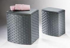 Wäschekorb mit Sitzpolster in ver. Größen Wäschetruhe Wäschesammler Hocker grau