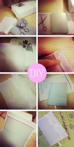 Love the lace Diy Crafts For Teens, Easy Diy Crafts, Diy Arts And Crafts, Diy For Kids, Craft Ideas, Fun Ideas, Diy Notebook Cover, Crafty Craft, Crafting