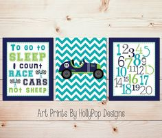 Boy nursery art - I count cars not sheep - Baby boy nursery art - Toddler boy bedroom decor - Nursery wall art - SET OF 3 UNFRAMED ART PRINTS #1298. 3 UNFRAMED Art prints printed on a professional grade photo paper. To go to Sleep I count race cars not Sheep! Designed in navy, turquoise, lime green, and gray, it is simply perfect for your little race! Prints size 8x10 or 11x14 come with a thin white border around stated print size and will be shipped in a flat mailer. Prints sized 12x16…