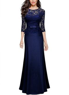 719bf353220a Miusol Women s Retro Floral Lace 2 3 Sleeve Slim Peplum Bridesmaid Long  Dress