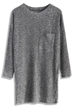 Basic Ribbed Knit Top in Grey - Long Sleeve - Tops - Retro, Indie and Unique Fashion