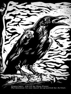 nature - Raven III Lino Block Print on Japanese Handmade paper by Nan Kane