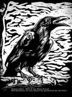 nature - Raven III Lino Block Print on Japanese Handmade paper by Nan Kane