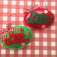 Very Classic Whimsical MERRY CHRISTMAS Ornaments- Handmade and Design with Felt material - Decor with Cute Details and a lovely unique Decorative