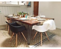 Farmhouse dining table DIY Special Walnut-Minwax Stain Hairpin legs