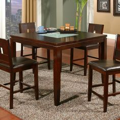 Alpine Furniture Lakeport Counter Height Pub Chairs - Espresso - Set of 2 - 552-02