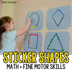 Need a quick toddler activity? Try Sticker Shapes! This easy activity is perfect for practicing fine motor skills and math skills. A great indoor activity!