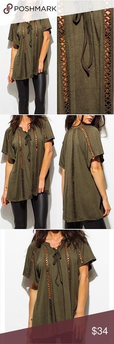 """Olive Relaxed Boho Flutter Sleeve Tunic Top SMLXL Gorgeous olive green crochet detail boho tunic top. Very relaxed flowy fit with butterfly sleeves & tie front. Easy, breezy & beautiful! Model is wearing a nude cami underneath. I wear mine with a black cami as well. Love it! 65% Polyester- 35% Rayon.   Small (Will fit M) Bust 42"""" Length 29"""" Medium (Will fit L) Bust 44"""" Length 29.5"""" Large (Will fit XL) Bust 46"""" Length 30"""" Tops"""
