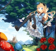 alice (wonderland) alice in wonderland bad id black legwear blonde hair bloomers blue dress blue eyes blue sky bow bracelet card castle cloud dress falling flower forest hair bow jewelry long hair marotti mountain mushroom nature open mouth original Alice Liddell, Manga Anime, Anime Art, Lewis Carroll, Carla Fairy Tail, Anime Pictures, Inspiration Artistique, Alice Madness, Anime Version