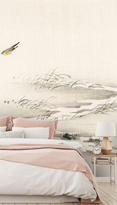 Choose our exquisite Oriental Landscape wallpaper mural to make a new focal point in your bedroom. This Japanese aesthetic wallpaper radiates feelings of serenity and peace. Imagine the absolute stillness of this quiet and remote place where the only sound is the singing of the birds as they glide through the wind. Order one of our Japanese wallpaper murals and transport yourself deep into the majestic Orient. Click to see this stunning collection from Wallsauce! #wallmural #wallpaper… Wallpaper Murals, Bedroom Wallpaper, Landscape Wallpaper, Wall Murals, Oriental Wallpaper, Panoramic Photography, Chimney Breast, Japanese Aesthetic, Beautiful Bedrooms