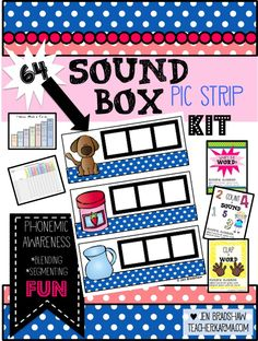 Phonemic Awareness:  Sound Boxes Kit for blending and segmenting sounds.  Uses graphics to practice.  Early reading practice ideas. #phonemic #awareness