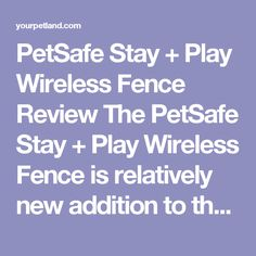 PetSafe Stay + Play Wireless Fence Review The PetSafe Stay + Play Wireless Fence is relatively new addition to the PetSafe wireless dog fence range and it is an update on the aging old PetSafe Wireless PIF-300