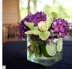 eggplant and green wedding reception centerpieces -I like the limes in the centerpiece. Picture Wedding Centerpieces, Green Centerpieces, Wedding Table Decorations, Centerpiece Ideas, Lime Centerpiece, Burlap Centerpieces, Floral Decorations, Table Verte, Dark Purple Bridesmaid Dresses