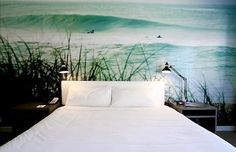 kinda love the idea of a huge wall mural of the ocean behind my bed like this.