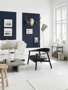 Quick living room change: paint wall rectangles a different colour & place frames and display favourite items in them.
