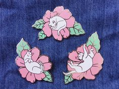 Flower cats hard enamel pins