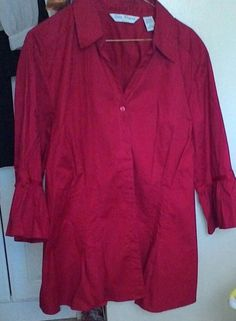 Blouse PLUS SIZE 22 QUIZZ WOMAN TRENDS DARK RED RUFFLED SLEEVES PLEATS DARTS  #QUIZZWOMAN #ButtonDownShirt #ALLOCCASION