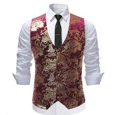 YUNCLOS 2019 Men Bronzing Vest Waistcoat Single Breasted Wedding Groom Slim  Fit Vests Party Dress Men Suit Vest Chaleco Hombre 673636b09161