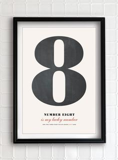 Pick a number - Personalized Number Poster art print  #3 is our number....