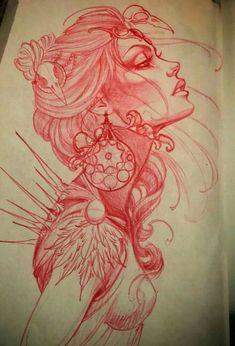 Red col erase pencil tattoo drawing of an abstract female. Red col erase pencil tattoo drawing of an abstract female. Maori Tattoos, Kunst Tattoos, Neue Tattoos, Body Art Tattoos, Samoan Tattoo, Polynesian Tattoos, Sleeve Tattoos, Buddha Tattoos, Hand Tattoos