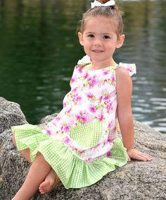 Look at this #zulilyfind! Hot Pink Daisy Angel-Sleeve Dress - Infant, Toddler & Girls #zulilyfinds
