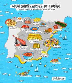 Regional food map infographic of Spain Video Rezept Spanish Heritage, Ap Spanish, Spanish Culture, Spanish Lessons, Spanish Food, How To Speak Spanish, Learn Spanish, Spanish Class, Spanish Cuisine