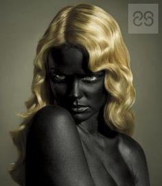 art, black, black and gold, black skin, blonde, blue eyes