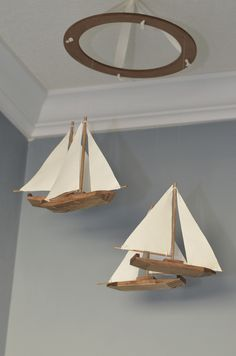 Sailboat Nautical Baby Mobile - Ivory Fabric - Let's Set Sail