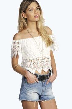 Felicity Crochet Off The Shoulder Top