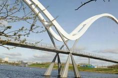 Infinity Bridge*, informally known as  ThePrincess of Wales Bridge (inaugurated by Princess Diana Sep 23, 1992), is a dual carriageway road bridge carrying Teesdale Boulevard across theRiver TeesinStockton-on-TeesinNEof England. The bridge links on the south bank of the river,Teesdale Business ParkinThornaby-on-Teesto the north bank at the north end of Riverside Road at gyratory system in Stockton-on-Tees*.  ¶Added info from Gazette live dot co dot uk.  *added info from wikipedia.